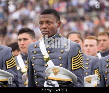 Tears stream down the face of West Point Cadet Alix Idrache during the 2016 commencement ceremony at the West Point - Stock Photo