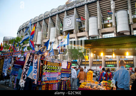 Street vending around the Santiago Bernabeu stadium before the Real Madrid-Barcelona football match. Madrid, Spain. - Stock Photo