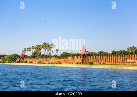 Mandalay, Myanmar at the palace wall and moat. - Stock Photo