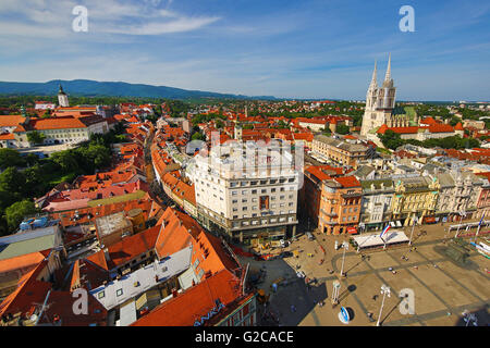 General city skyline view with Zagreb Cathedral and Ban Jelacic Square in Zagreb, Croatia - Stock Photo