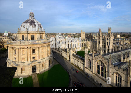 Radcliffe Camera & Spires and Rooftops of All Souls College Oxford University England - Stock Photo