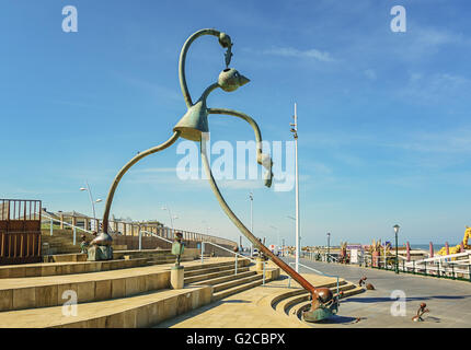 On the boulevard of Scheveningen, The Netherlands, a group of statues called 'statues of the sea'. - Stock Photo