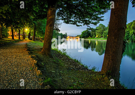 Turin (Torino) Parco del Valentino and river Po - Stock Photo