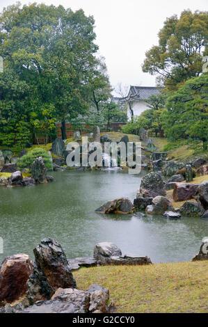 Nijo Castle, Ninomaru Garden Pond - Stock Photo