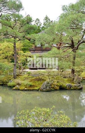 Kannonden & Pond, Ginkakuji (Silver Pavilion) - Stock Photo