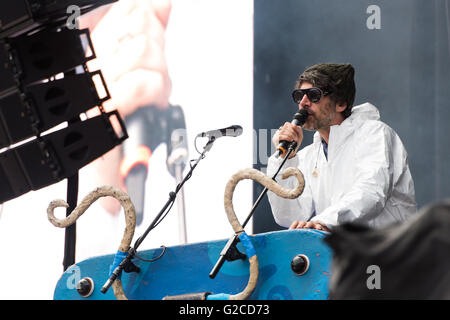 Super Furry Animals support Manic Street Preachers at the Liberty Stadium, Swansea. 28th May 2016. Pictured: Gruff - Stock Photo
