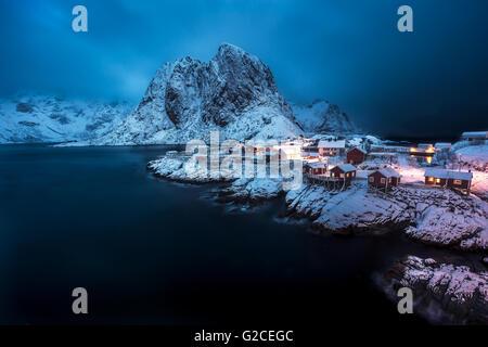 Hamnoy villege in winter - Stock Photo