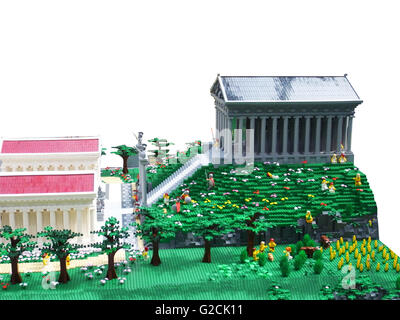 Lego Model build ancient old time day sky toy fun landscape Greece Olympic Mountains Athenaeum Athena - Stock Photo