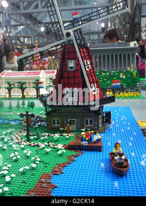 Lego Model build ancient old time day sky toy fun landscape Netherlands Amsterdam windmill grass marry - Stock Photo