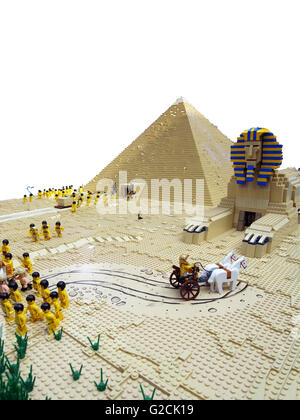 Lego Model Egypt Egyptian build ancient pyramid Sphinx Pharaoh engineering horse slave old time day sky toy fun - Stock Photo