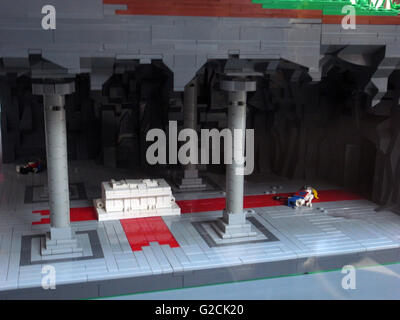 Lego Model build ancient old time day sky toy fun landscape Greece Olympic Mountains Athenaeum Athena  tomb chamber - Stock Photo
