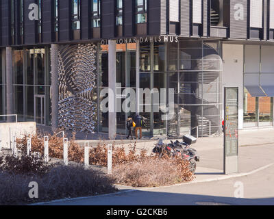 Architecture and  art in Blindern Forskningsparken campus of University of Oslo Norway with modern university buildings - Stock Photo