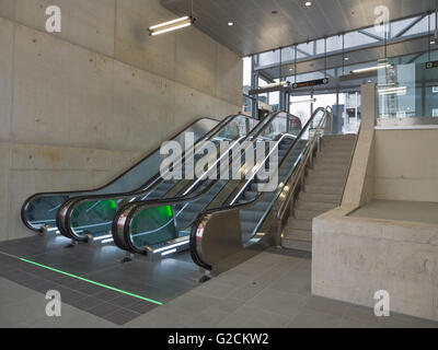 The new Løren metro station in Oslo Norway opened in April 2016 escalators in the entrance hall - Stock Photo