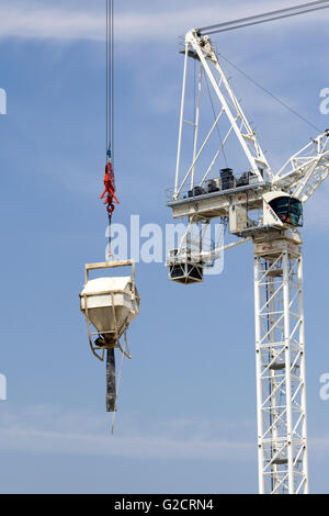 construction cranes on a building site - Stock Photo