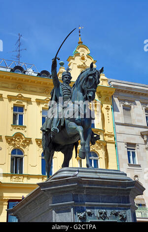 Statue of Ban (Josip) Jelacic riding a horse in Ban Jelacic Square in Zagreb, Croatia - Stock Photo