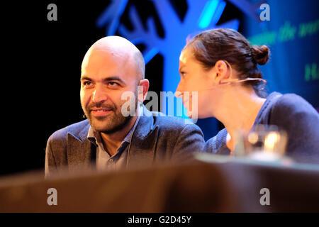Hay Festival - Saturday 28th May 2016 - Italian investigative journalist and author Roberto Saviano talks about - Stock Photo