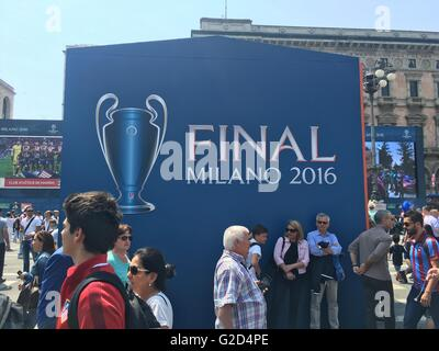 Milan, Italy 28th May, 2016. The 2016 UEFA Champions League Final .Tonight will be played in Milan the Champions - Stock Photo