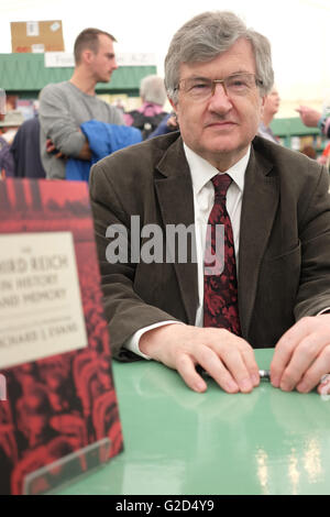 Hay Festival - Saturday 28th May 2016 - Author and historian Richard Evans in the Festival bookshop with a copy - Stock Photo