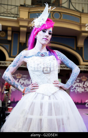 London, UK, 28 May 2016. Alexandra Palace.  The Show features over 300 Tattoo Artists as well as alternative fashion - Stock Photo