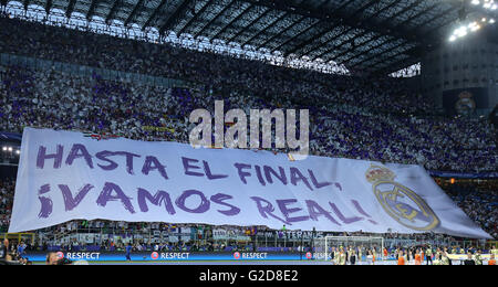 Milan, Italy. 28th May, 2016. Fans of Real Madrid before the UEFA Champions League Final between Real Madrid and - Stock Photo