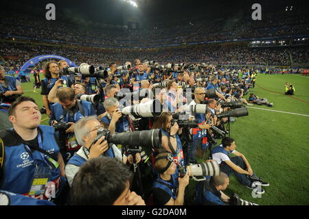 Milan, Italy. 28th May, 2016. Photographer are seen during the UEFA Champions League Final between Real Madrid and - Stock Photo