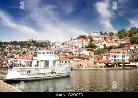 View of city Ohrid, city of UNESCO, Macedonia - Stock Photo