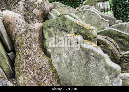 Headstones packed around the Hardy Tree in Old St Pancras churchyard, St Pancras, London, England, UK - Stock Photo