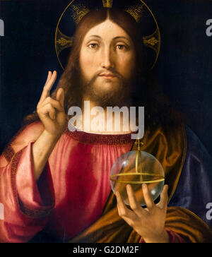 Salvator Mundi by Andrea Previtali, oil on poplar, 1519. The painting depicts Jesus Christ giving a blessing with - Stock Photo