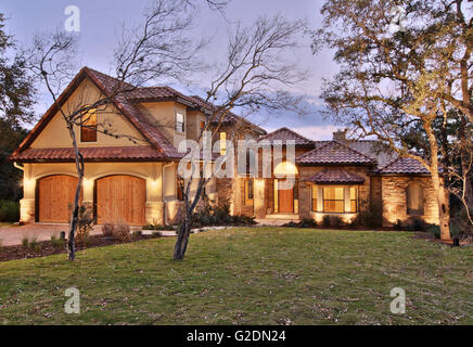 Two Story Suburban House With Two Car Garage Stock Photo
