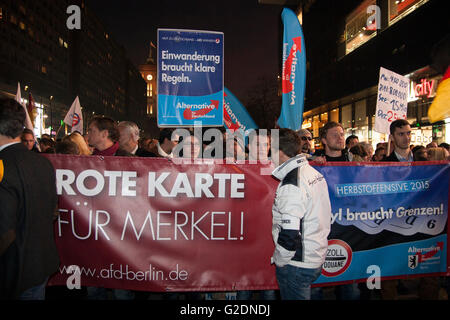 AfD Demonstration in Berlin, Germany. 'Red Card for Merkel' - Stock Photo