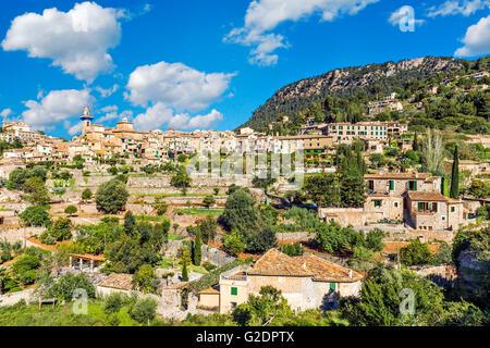 Valldemossa hilltop town in summer, Majorca, Spain - Stock Photo