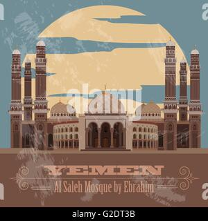 Yemen landmarks. Retro styled image. Vector illustration - Stock Photo