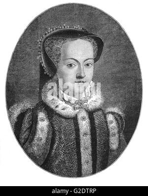 Queen Mary I (1516 – 1558) was the only child of Henry VIII and his first wife Catherine of Aragon to survive to - Stock Photo