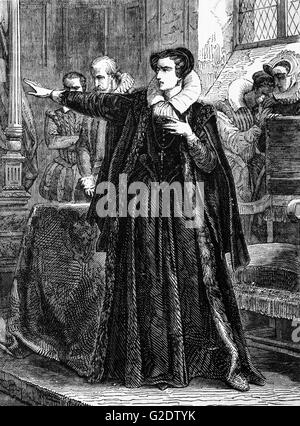 Mary, Queen of the Scots, aka Mary Stuart protesting against Commissioners appointed to inquire into her conduct - Stock Photo