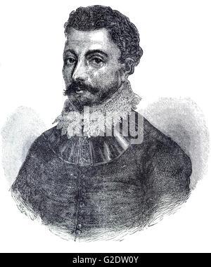 Sir Francis Drake, (1540 – 1596) was an English sea captain, privateer, navigator, slaver, and politician of the - Stock Photo