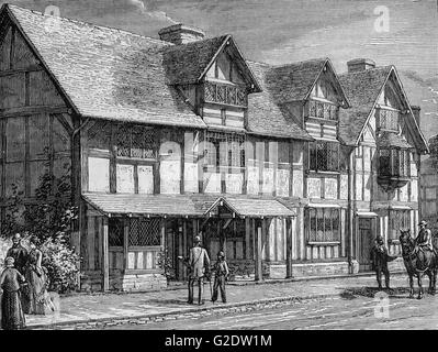 19th Century view of William Shakespeare's Birthplace,  a restored 16th-century half-timbered house situated in - Stock Photo