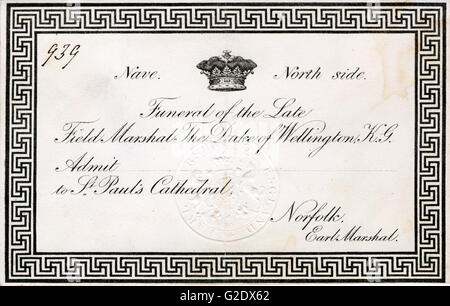 Duke of Wellington, Funeral Invitation, 1852 card for the state funeral of the Victor of Waterloo at St Pauls Cathedral - Stock Photo