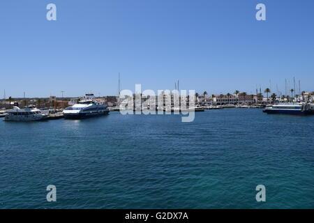 Boats docked at La Savina. Formentera, Spain - Stock Photo