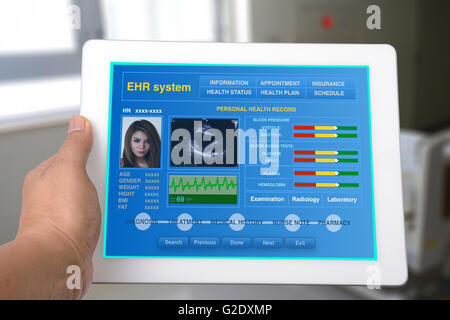 Electronic health record or EHR on tablet show personal health information . - Stock Photo