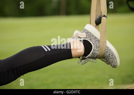 Closeup of man's legs while training - Stock Photo