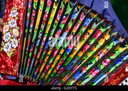 The colorful design of a traditional Russian accordion - Stock Photo
