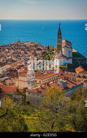 Slovenia Coast and Kras Piran - View with cathedral from the walls - Stock Photo