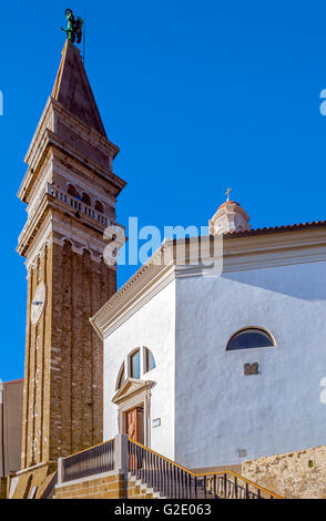 Slovenia Coast and Kras Piran - St George cathedral - Stock Photo