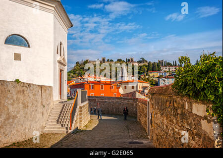 Slovenia Coast and Kras Piran -the cathedral of St George - Stock Photo