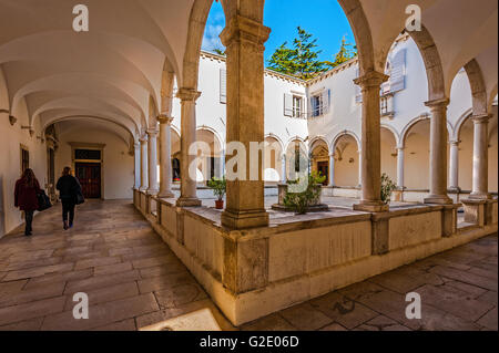 Slovenia Coast and Kras Piran - Cloister of the Church St Francis - Stock Photo