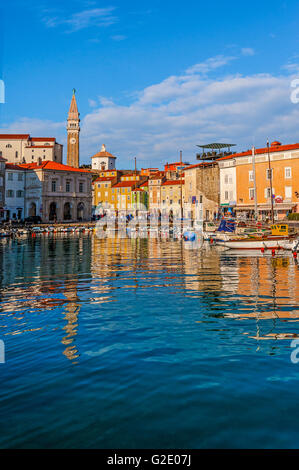 Slovenia Coast and Kras Piran - Square Tartini and the cathedral of St George seen from the port - Stock Photo