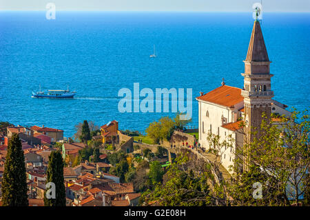 Slovenia Coast and Kras Piran seen from the walls - St. George Cathedral - Stock Photo
