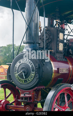 Boiler detail of the steam powered traction engine Cromwell at the Vintage vehicle and steam rally in Corwen North - Stock Photo