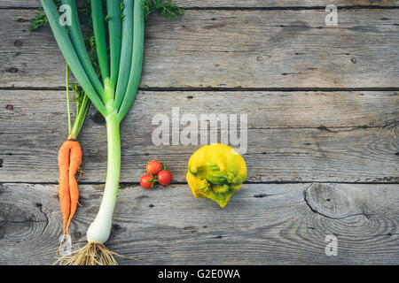 Trendy ugly organic carrot, tomatos, ugly lemon and leek from home garden bed on barn wood table, Australian grown. - Stock Photo
