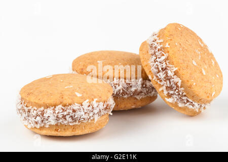 Round coconut cookies isolated on white background - Stock Photo